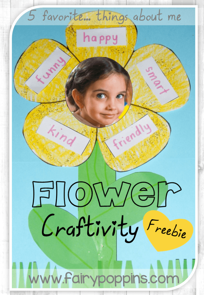 Free printables for each student to make a personalized flower about five things.
