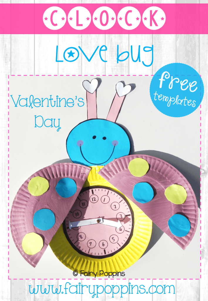 Free Valentine's Day Telling Time Clock Template ~ Fairy Poppins