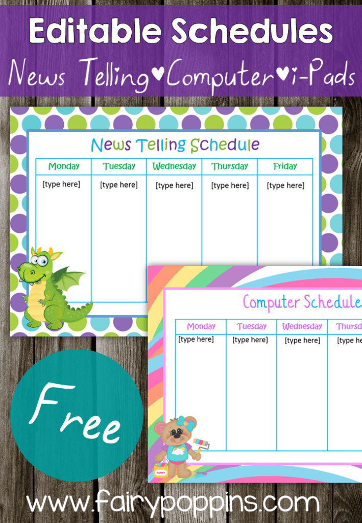 FREE Editable Schedules - Fairy Poppins