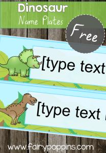 FREE Dinosaur Name Plates - FairyPoppins.com
