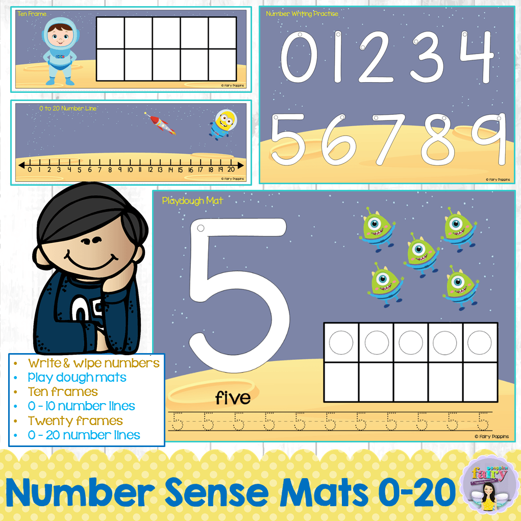 Space themed number lines, ten frames and number activities ~ Fairy Poppins
