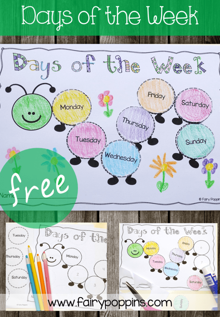 Days of the week caterpillar - Fairy Poppins