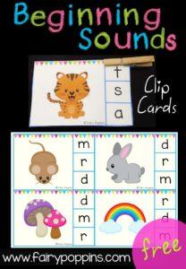 Free Beginning Sound Clip Cards