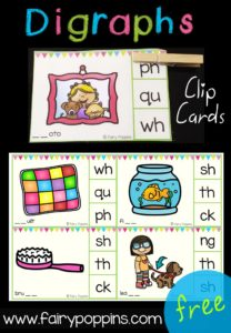 Free Digraph Clip Cards - Fairy Poppins