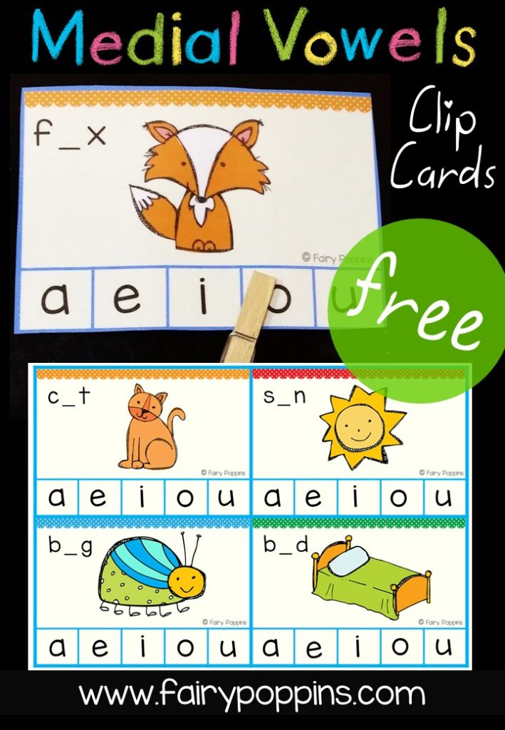 Free medial and short vowel clip cards ~ Fairy Poppins