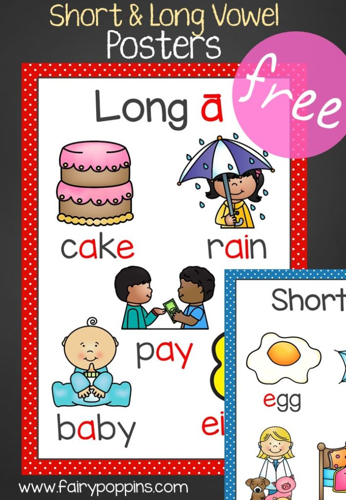 Free Short & Long Vowel Posters - Fairy Poppins