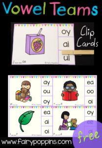 Free Vowel Team Clip Cards - Fairy Poppins