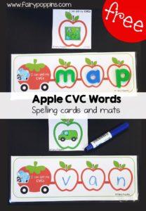 Free Apple theme CVC spelling mats ~ Fairy Poppins