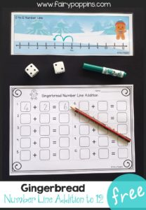 Free gingerbread number line addition game to 12 ~ Fairy Poppins.