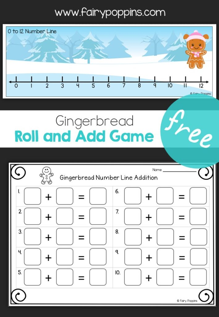 Free gingerbread addition game, roll and add up to 12 ~ Fairy Poppins.