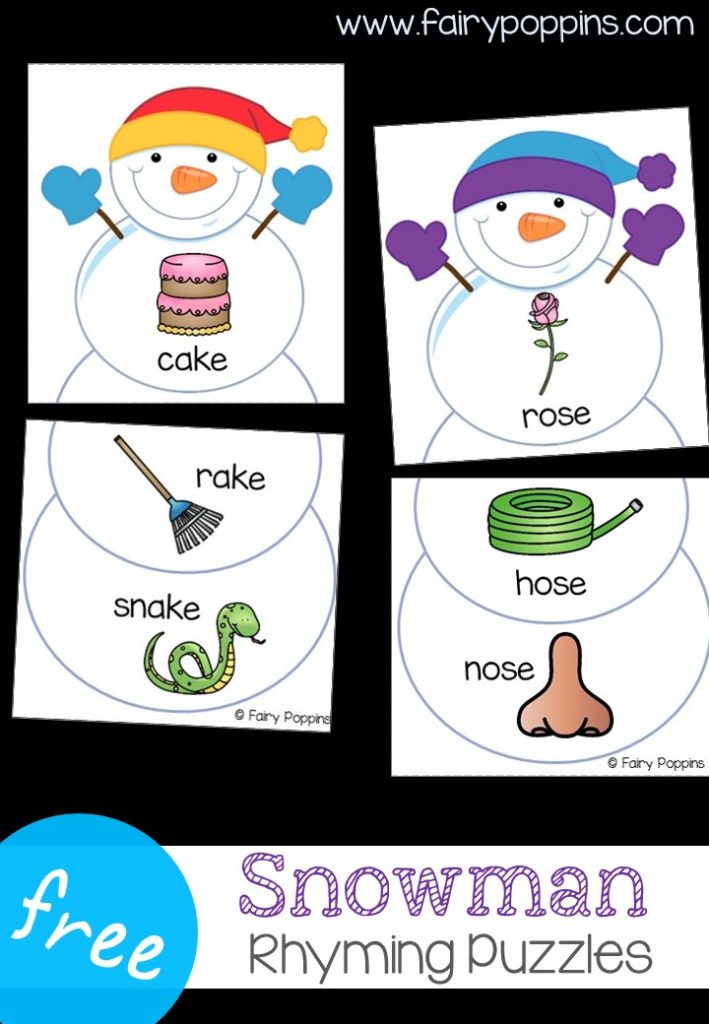 Snowman Rhyming Puzzles | Fairy Poppins