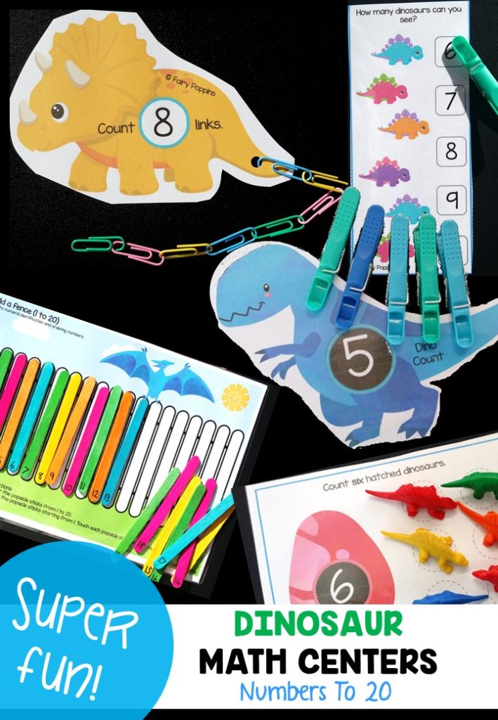 Hands-on dinosaur counting activities, great for math centers ~ Fairy Poppins