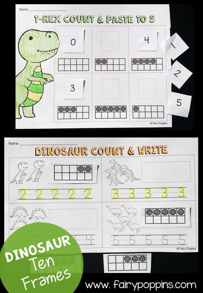 Dinosaur ten frame worksheets ~ Fairy Poppins