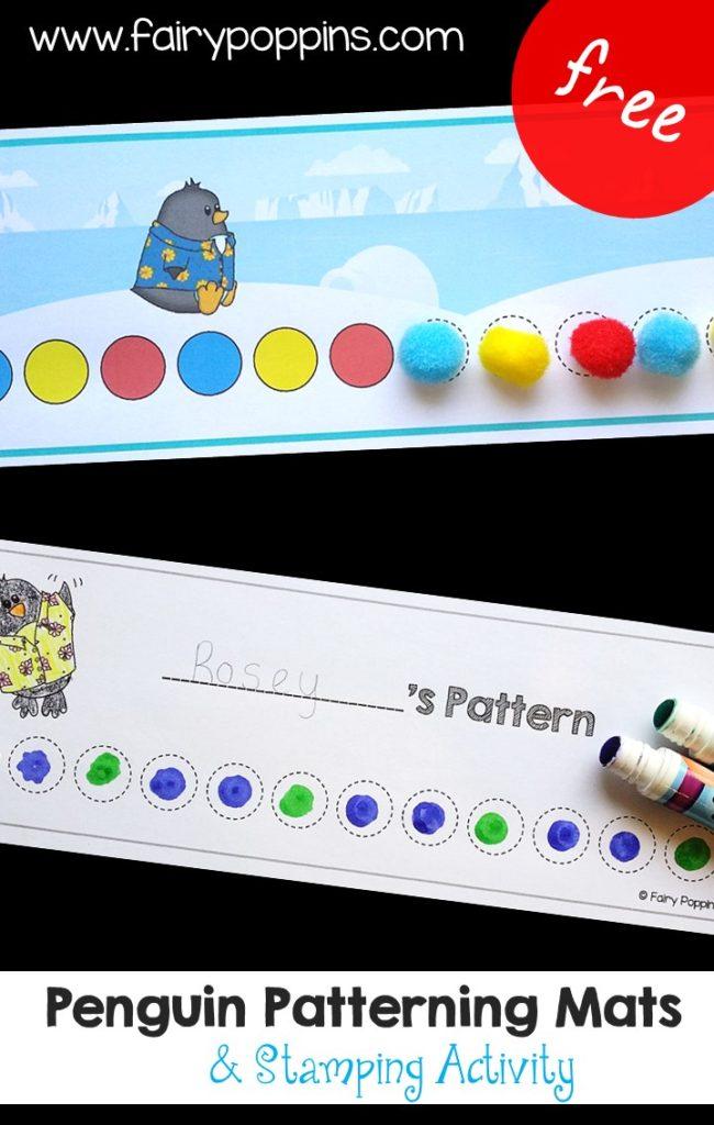 Penguin patterning pom pom mats (fine motor) - Fairy Poppins
