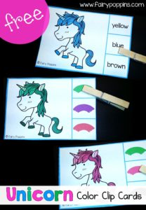 Free unicorn color clip cards ~ Fairy Poppins