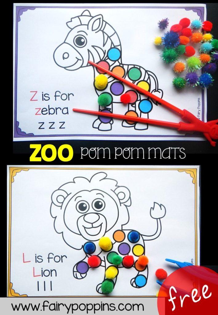 Free zoo pom pom mats (fine motor) ~ Fairy Poppins