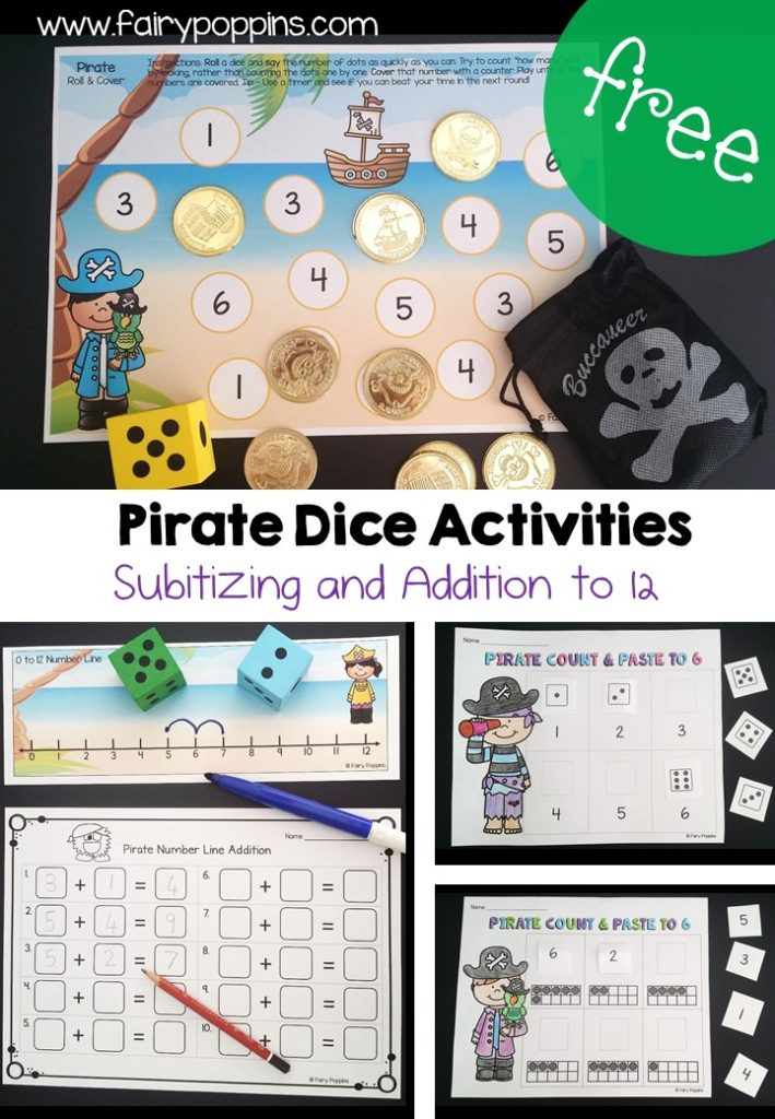 Free pirate addition activities with dice and number lines ~ Fairy Poppins