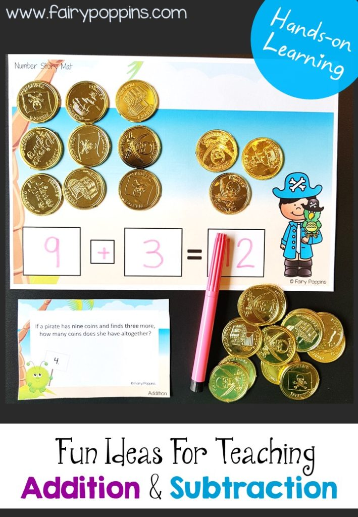 Addition and subtraction word problems and number story activities. Includes work mats, task cards and worksheets ~Fairy Poppins