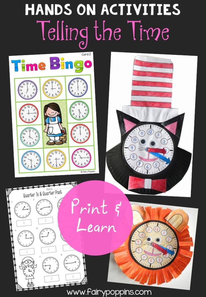 Fun telling the time activities. Includes clock crafts, bingo game and worksheets. ~Fairy Poppins