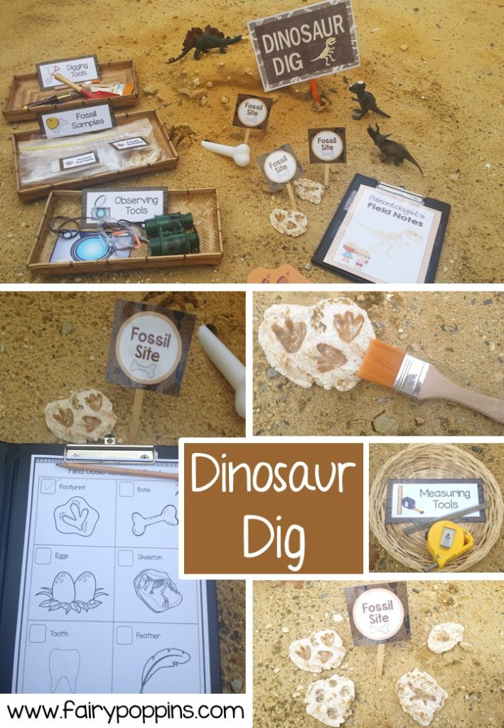 Dinosaur Dig dramatic play printables ~ Fairy Poppins