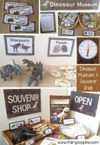 Dinosaur Museum and Souvenir Shop dramatic play printables ~ Fairy Poppins
