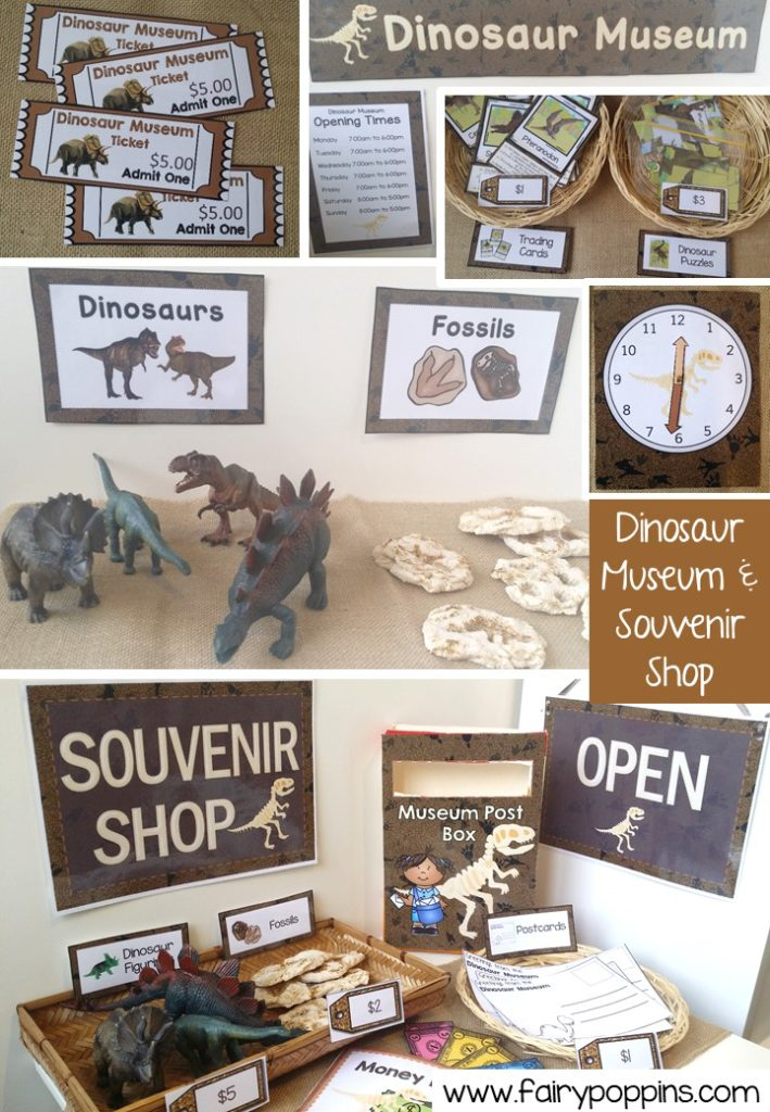 Dinosaur Museum and Souvenir Shop dramatic play printables ~ Fairy Poppins
