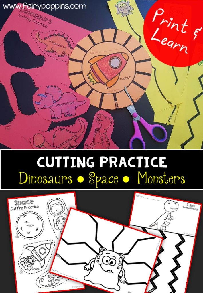 Dinosaurs, space and monsters cutting practice worksheets (fine motor) ~ Fairy Poppins