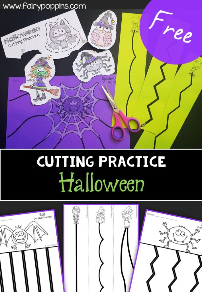 Free Halloween cutting practice worksheets (fine motor) ~ Fairy Poppins