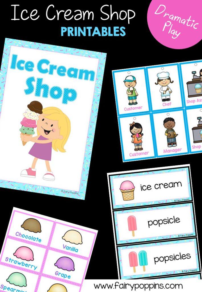 Ice Cream Shop dramatic play printables ~ Fairy Poppins