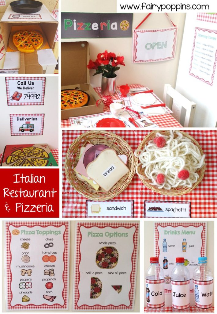 Italian Restaurant and Pizzeria dramatic play printables ~ Fairy Poppins
