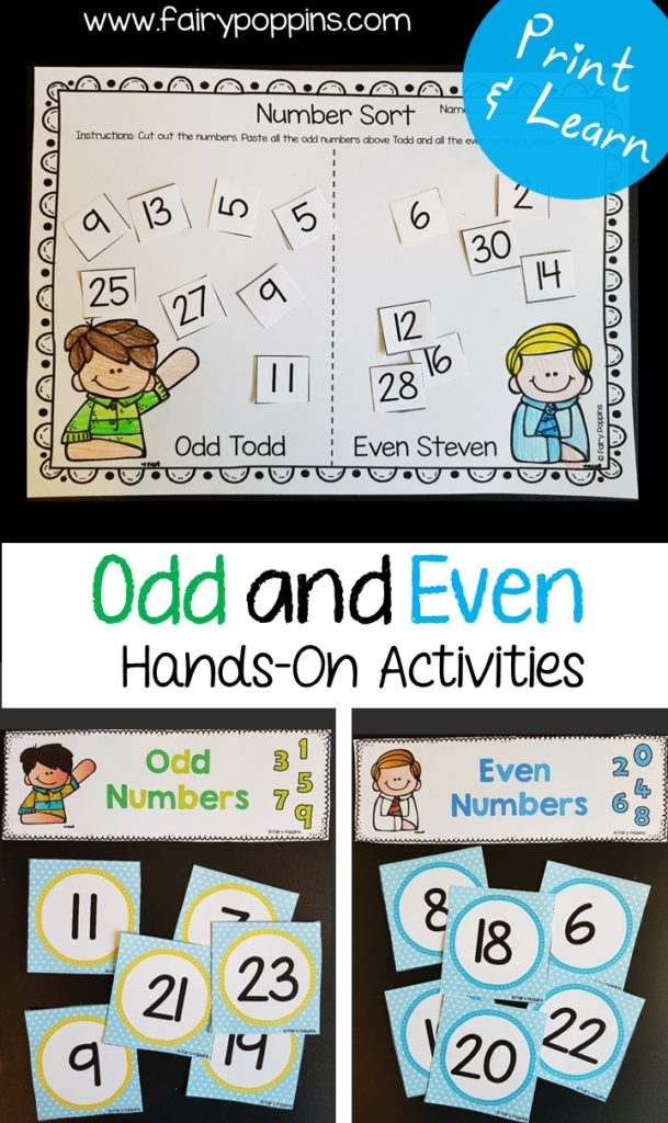 Odd and even numbers activities ~ Fairy Poppins