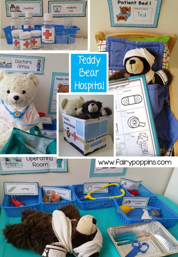 Teddy Bear Hospital dramatic play printables ~ Fairy Poppins