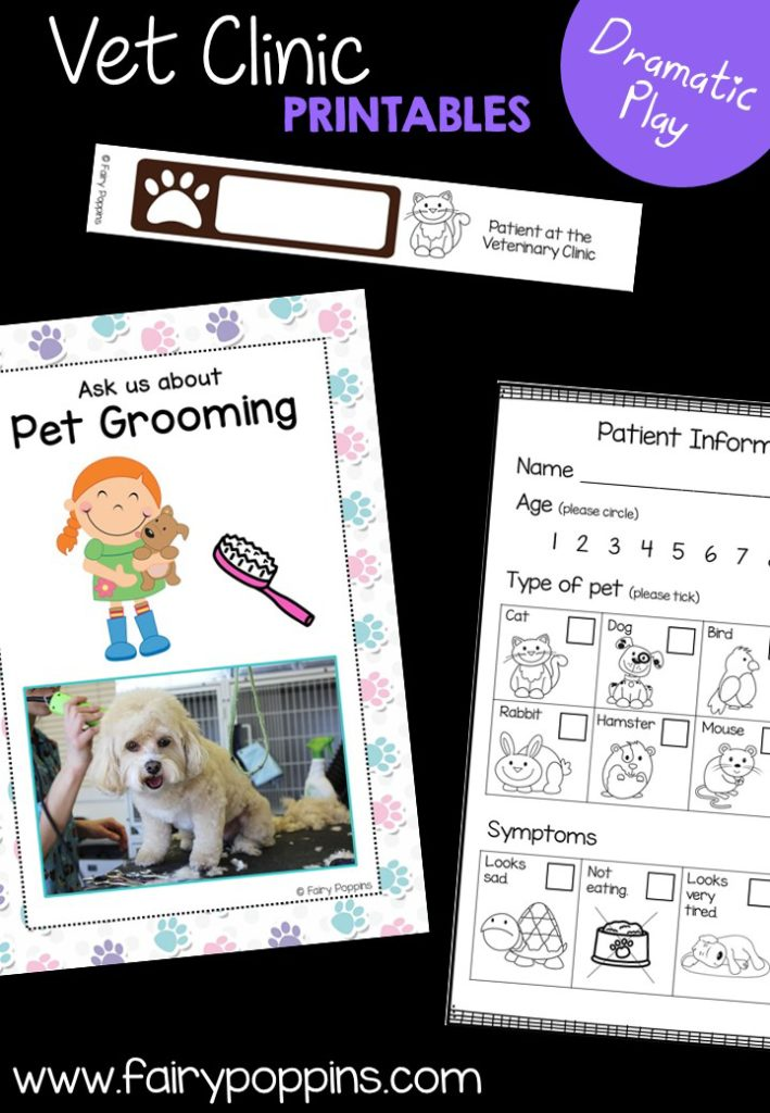 Veterinary Clinic dramatic play printables ~ Fairy Poppins