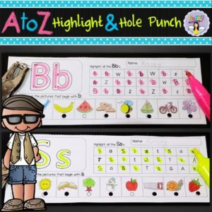 Alphabet highlight and hole punch activities ~ Fairy Poppins
