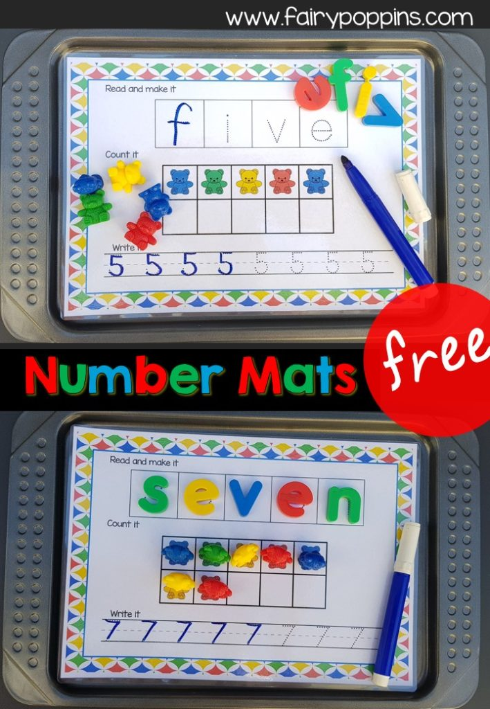 Free number work mats using magnetic letters, counting bears and erasable markers. Great for developing number sense! - Fairy Poppins