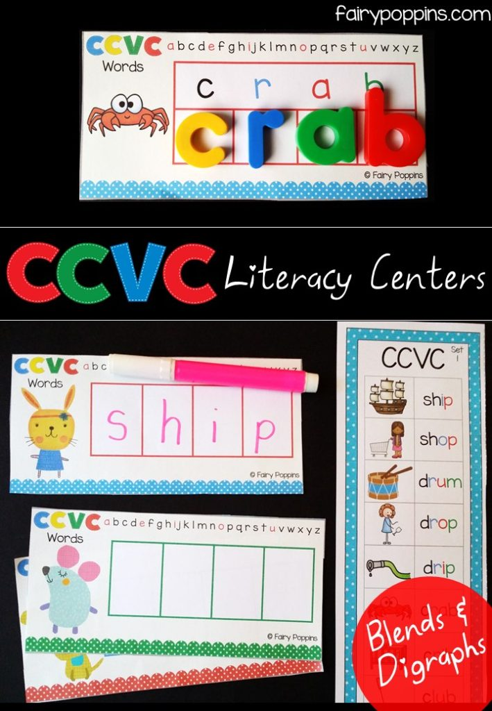 Literacy center activities using magnetic letters for CCVC (blends, digraphs) words ~ Fairy Poppins
