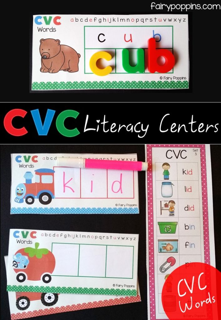 Literacy center activities using magnetic letters for CVC words~ Fairy Poppins