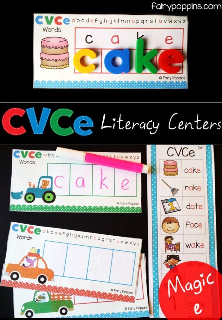 Literacy center activities using CVCe (magic e) words ~ Fairy Poppins
