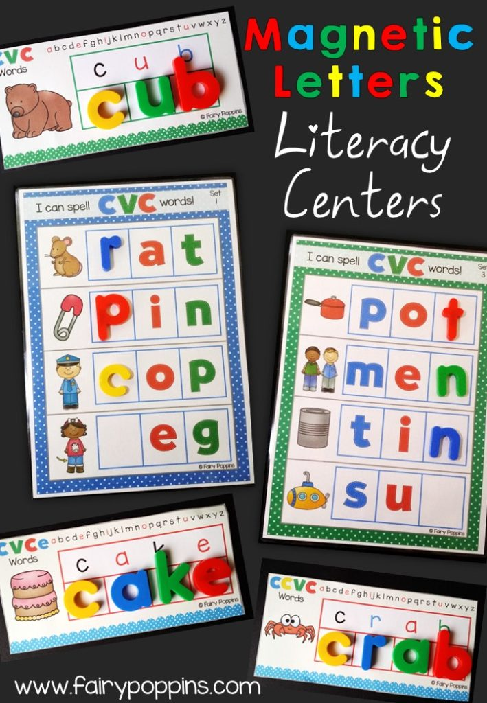 Literacy Centers Using Magnetic Letters Fairy Poppins