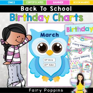 Cute owl birthday charts and certificates ~ Fairy Poppins