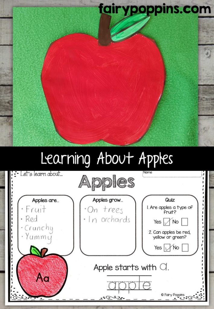 Apple craft template and worksheet activities (labeling, description, writing) - Fairy Poppins