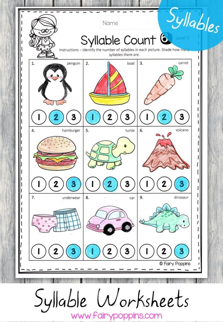 Counting syllables worksheet activities - Fairy Poppins
