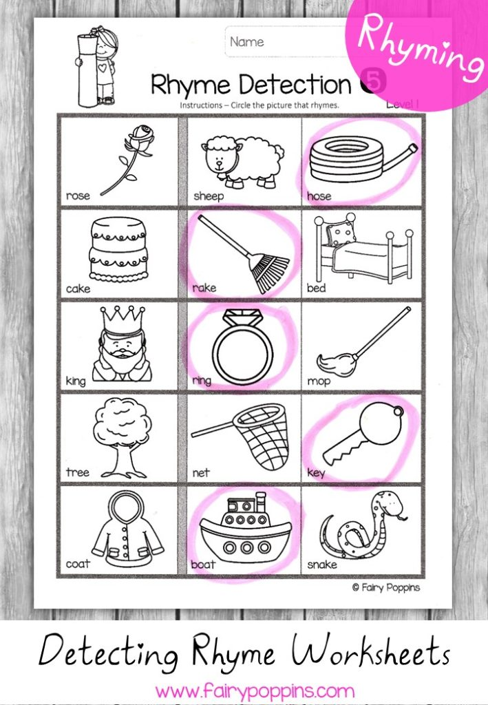 Detecting rhyming words worksheets - Fairy Poppins