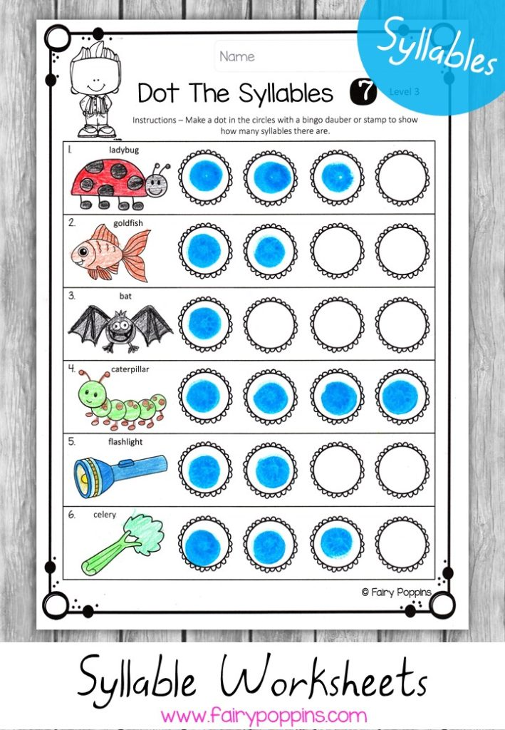 Syllable Games And Activities Fairy Poppins. Syllable Worksheets Dot The Syllables Fairy Poppins. Worksheet. Syllable Worksheet At Clickcart.co