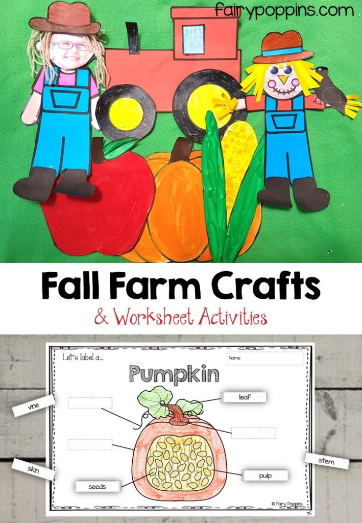 Falll farm craft templates and worksheet activities ~ Fairy Poppins