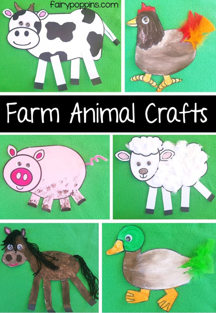 Farm animal craft templates and worksheet activities - Fairy Poppins