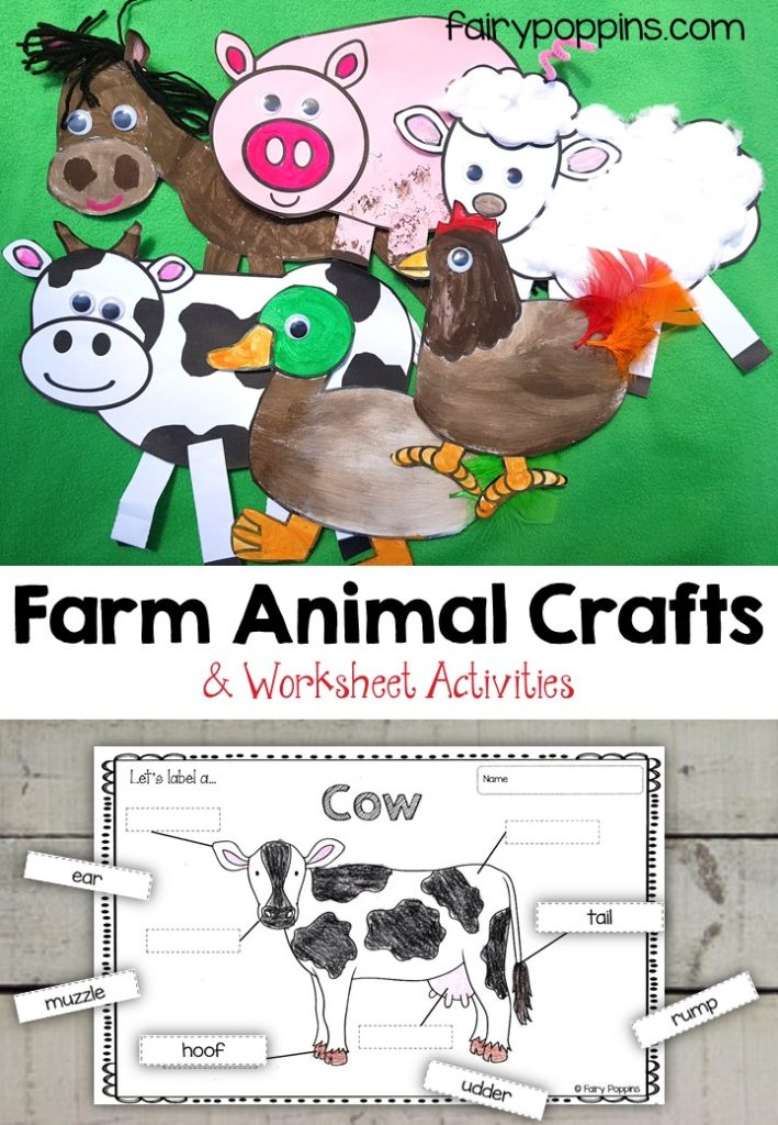 Farm animal craft templates and worksheet activities (labeling, description, writing) - Fairy Poppins