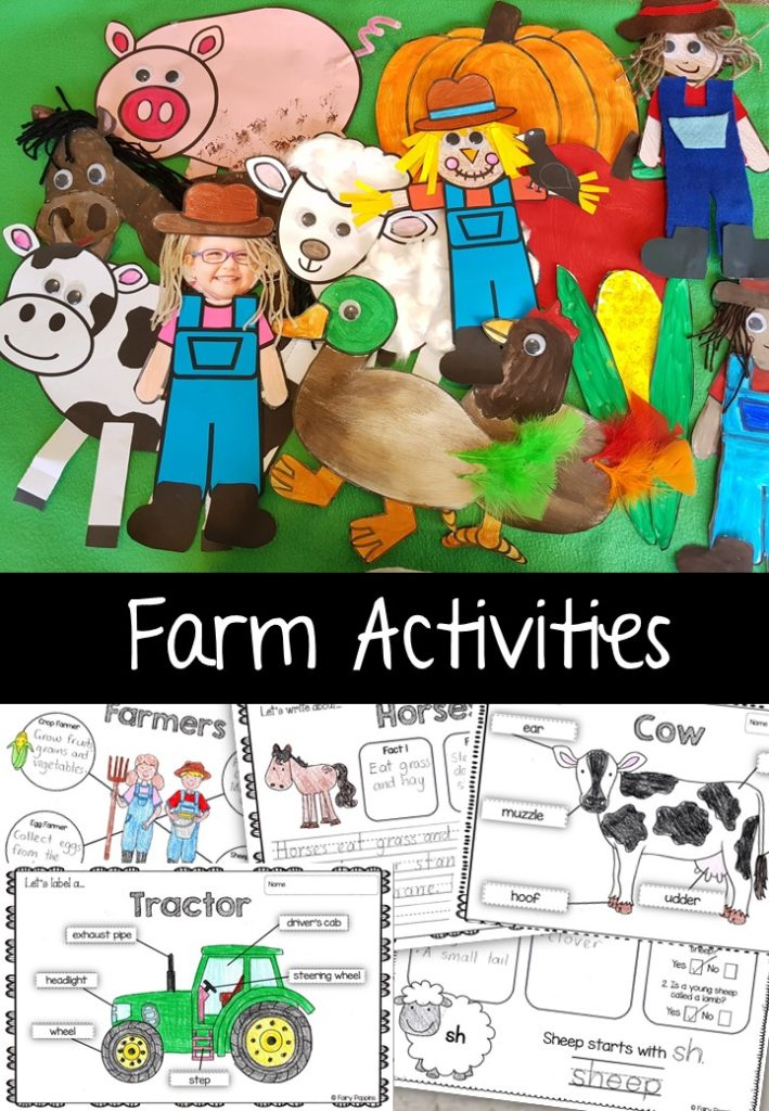 Farm craft templates and worksheet activities (labeling, description, writing) - Fairy Poppins