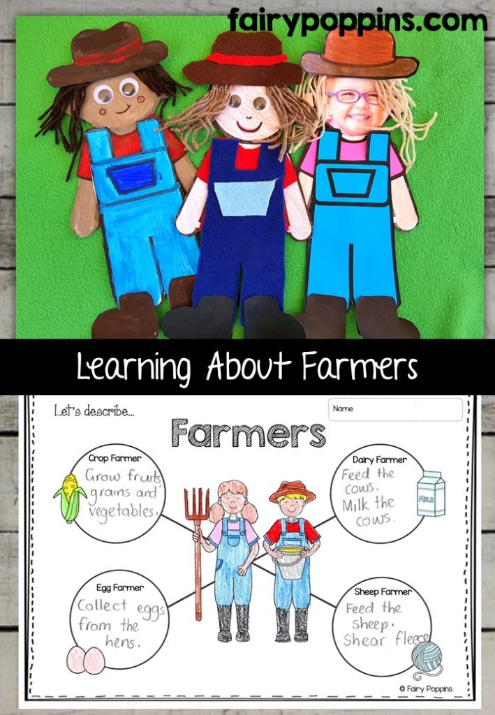Farmer craft template and worksheet activities (labeling, description, writing) - Fairy Poppins
