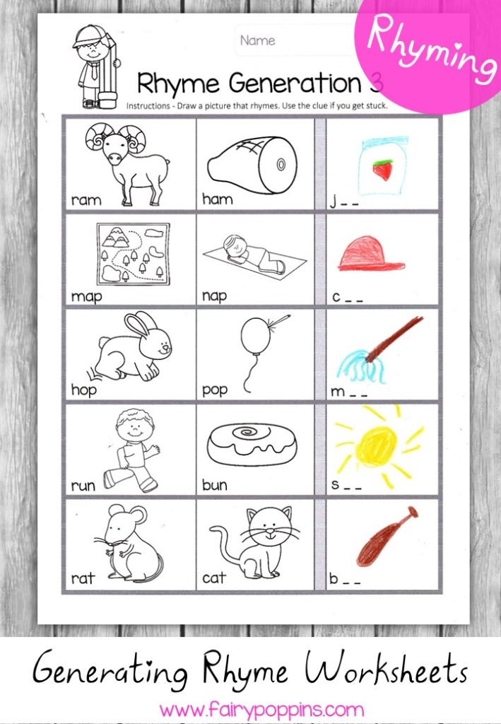 Generating rhyming words worksheets - Fairy Poppins
